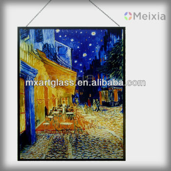 2013 hot sale van gogh cafe terrace glass silk screen printing on glass