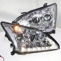 2004-2009 Year Lexus RX330 RX350 LED Head Lights Headlamps Projector Lens Chrome Housing Silver Reflector SN