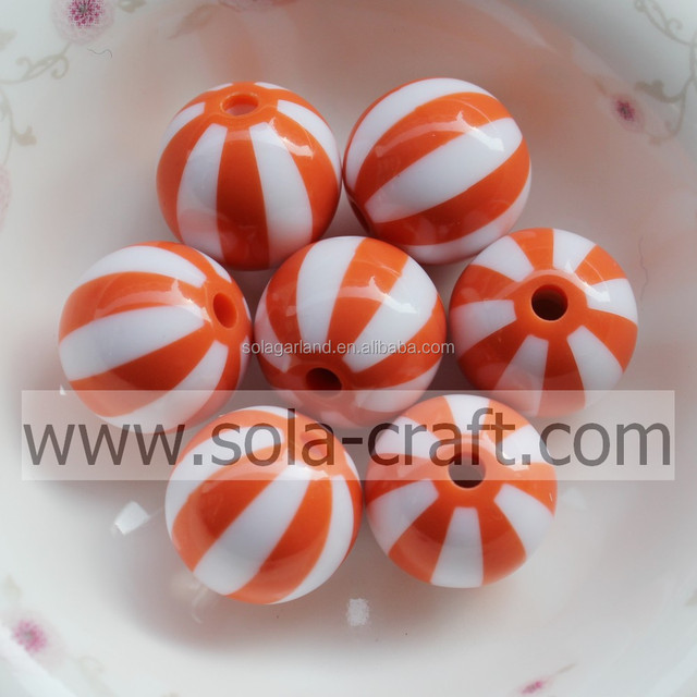 100pcs/lot 20MM DIY Beads Top Quality Promotion For DIY Necklace Bracelet,Gumball Resin Beads In Bulk , Loose Round Orange Beads