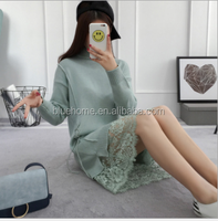 turtleneck long knitted sweater dress a pure color pullover with a lace dress