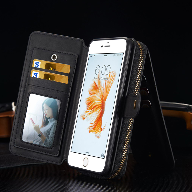 New Arrival 2017 Hand-Woven Detachable Zipper BRG Wallet Phone Case for Iphone 7