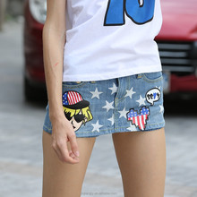 stars print hot sale short denim pant skirt