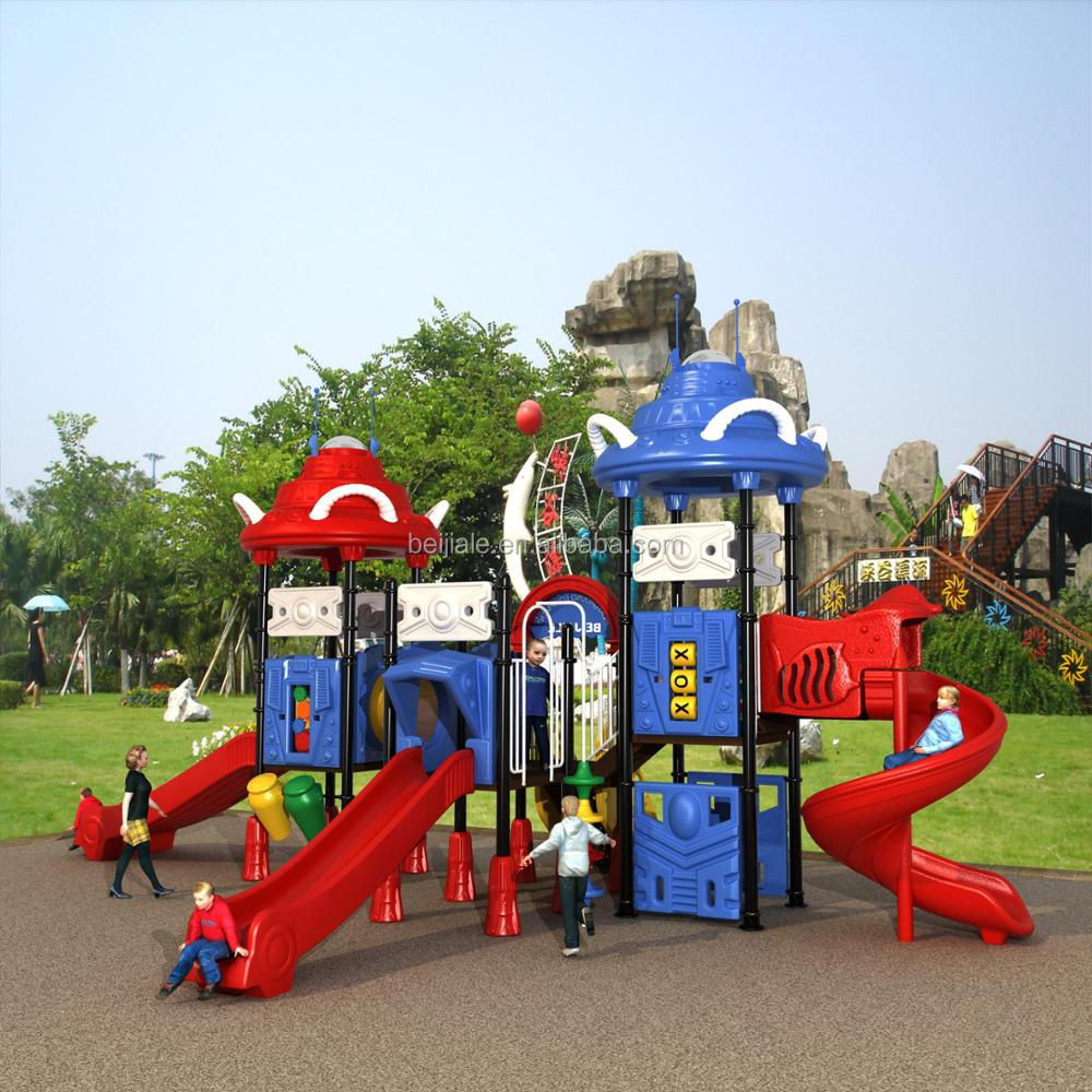 high quality outdoor playground equipment with plastic slide