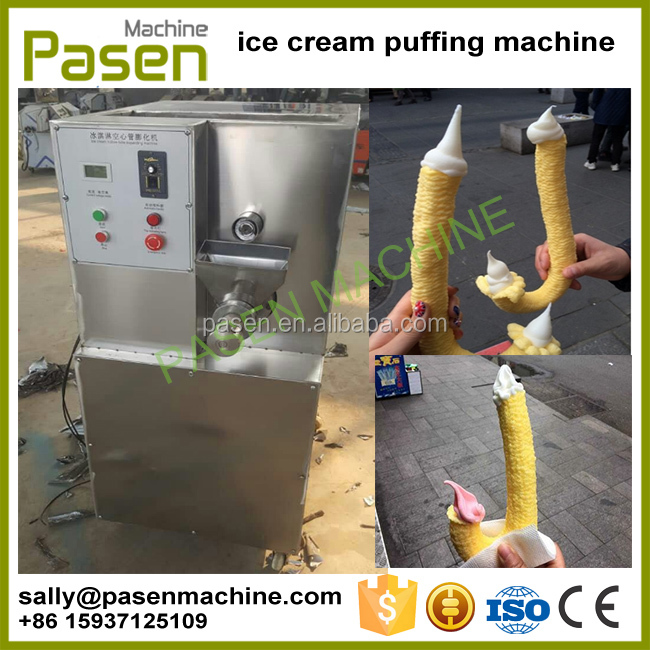 Ice Cream Popcorn Cone Machine / Hollow Tube Pop Corn Puffed Ice Cream Machine / Hollow Tube Corn Puff Snack Extruder