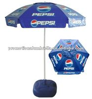 180cm 6K windproof PVC parasol with air vent in silk printing for promotion