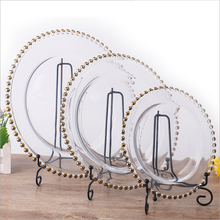 Gold Bead Glass Charger Plates for Wedding Decoration