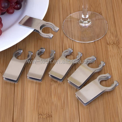 Metal Stainless Steel Vino <strong>Wine</strong> Glass Holder Plate Clip