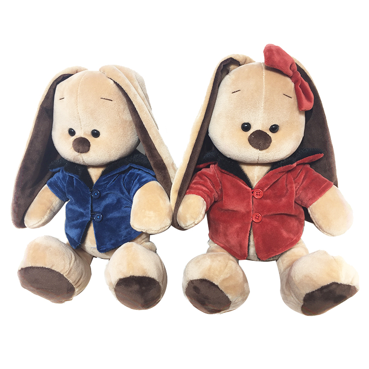 Top Grade Soft Couples Red Blue Pajamas Rabbit Plush Toys Stuffed Animal