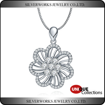 925 Sterling Silver Seven Petal Flower Pendant With Zircon