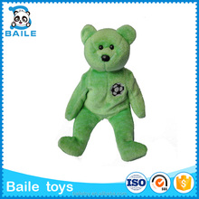 2016 DongGuan green soft doll custom stuffed plush teady bear toy