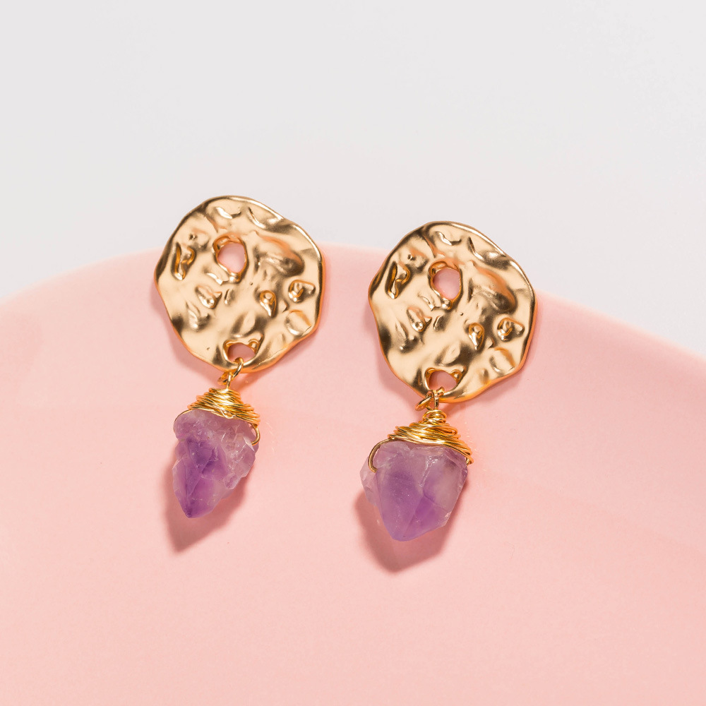 Novelty golden hook earrings single purple stone earrings