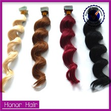 Top 5 alibaba supplier 100% virgin human hair tape hair extension different types of curly hair
