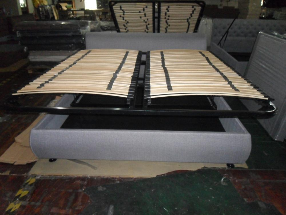 Queen Size Horizontal Gas Lift Storage Fabric Bed Frame