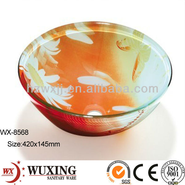 Double Layer Glass Washbasin Design