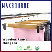 hotselling high quality 32 cm mens Wooden Pants Hangers with clips