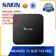 Android 6.0 tv box tx3 pro quad core 1gb/8gb 4k s905x android tv box