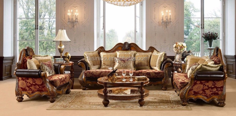 2017 NEW ITEM Classic Design Solid Wood Upholstery Sectional Sofa Set/Traditional European Wooden Living Room Sofa (MOQ=1 Set)