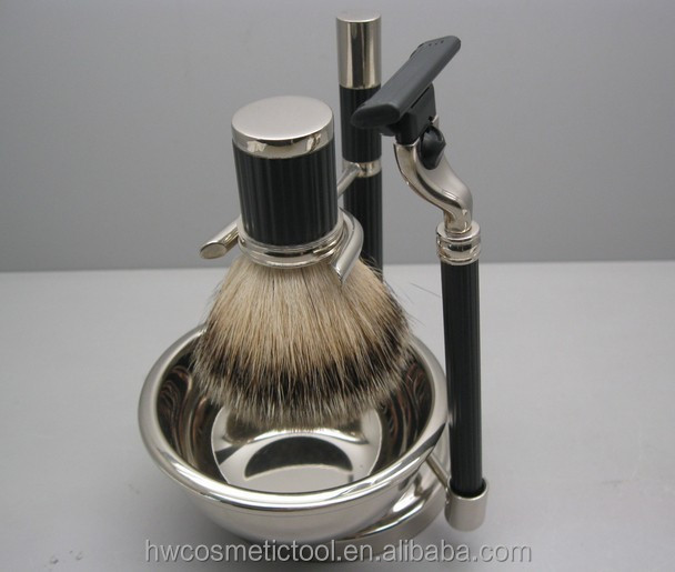 Best selling resin handle silvertip badger hair shaving brush set with razor stand