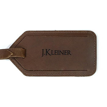 Personalised crazy horse pattern brown leather luggage tag
