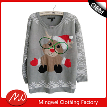 2016 new women's santa reindeer knitted pullover christmas sweater wholesaler for design