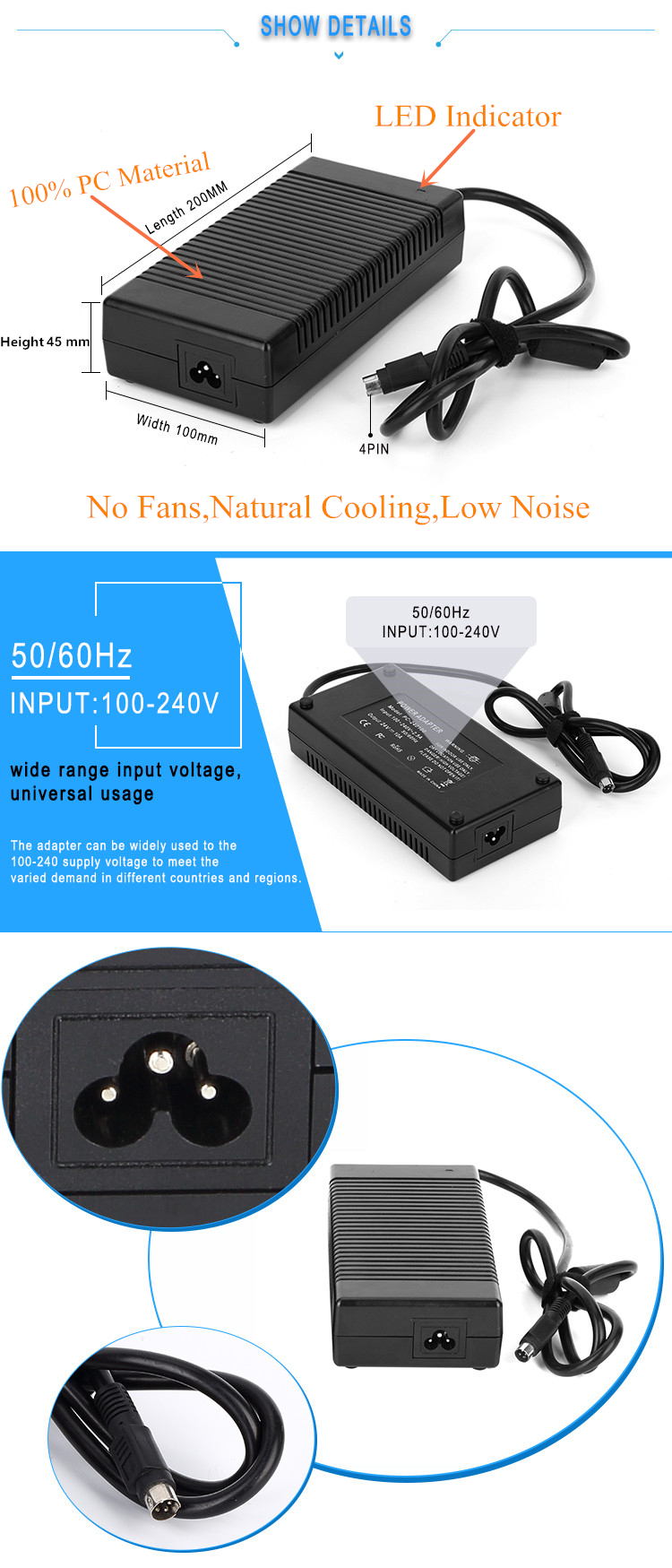 AC Input 100~240V 30V AC DC Adapter Power Supply 30V 8A 240W