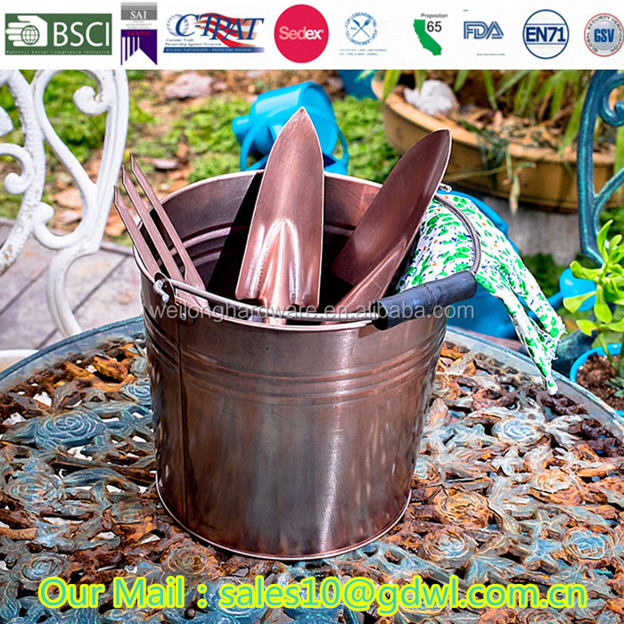 5L Multi copper color galvanized garden water metal bucket