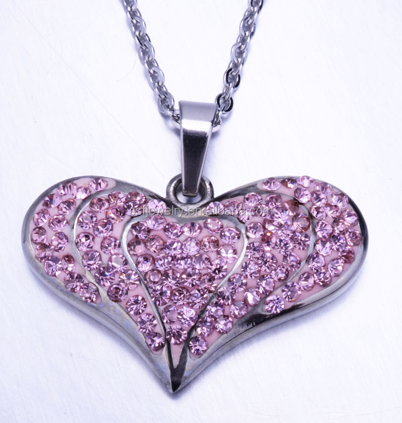 SP0417 hot sale stainless steel heart shape colorful drop pendant necklace for lady