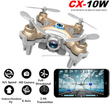 Cheerson CX-10W CX10W Mini Wifi Smartphone Mini Drone With 720P Camera 2.4G 4CH 6 Axle LED RC Quadcopter Support SD card