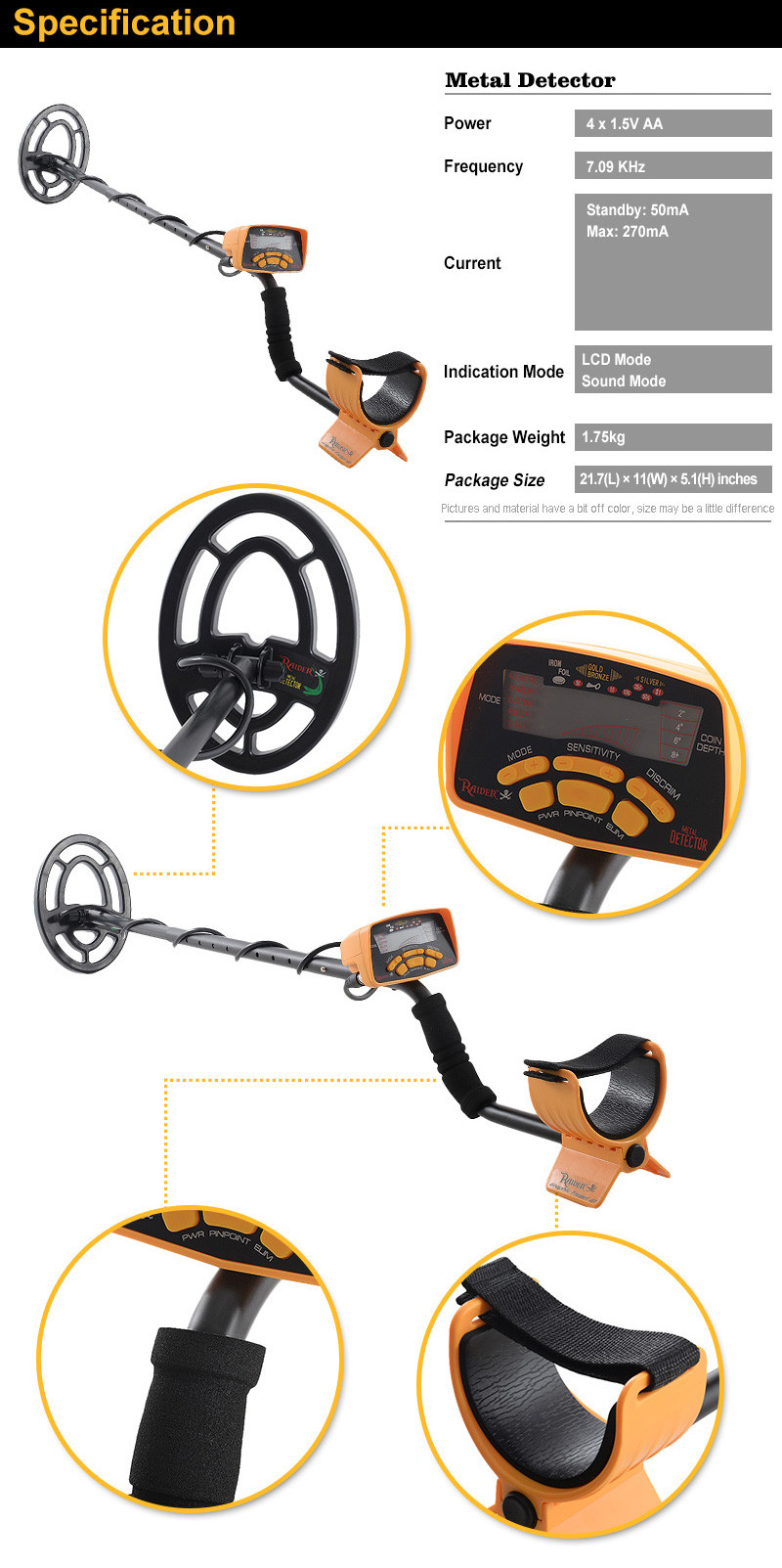 MD6250 Portable Treasure Metal Detector Underground Gold Detector