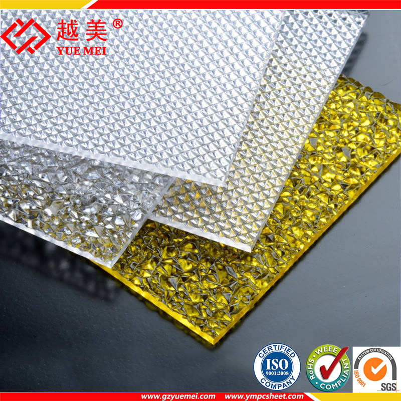 Guangzhou Yuemei Grade A embossed diamond polycarbonate solid sheet
