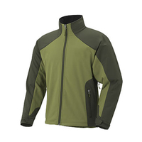 Army green polyester spandex softshell mens jacket