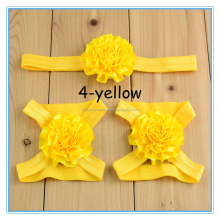 Baby Flower elastic Headbands Barefoot Sandal Set Baby Foot Flower Shoes Hair Accessories