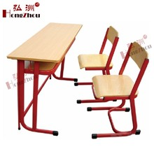 double seats wooden students desk and chair