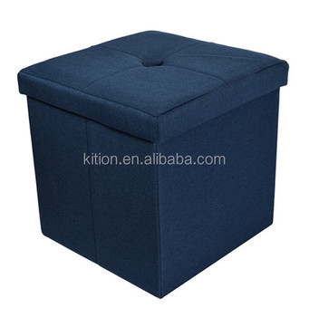 Wooden storage bench seat polyester linen with one button on top
