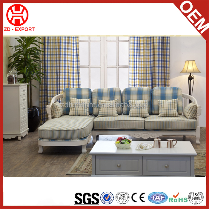 2016 Popular L shape sofa funiture striped fabric sofa with wooden arm