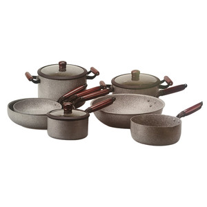 High quality 10 pcs cookware sets Aluminium non-stick marble coating pans with wood grain handle cookware set