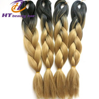 "ombre braiding hair 22"" 100g two tone Black yellow expression hair braids synthetic hair for black african jumbo braid"