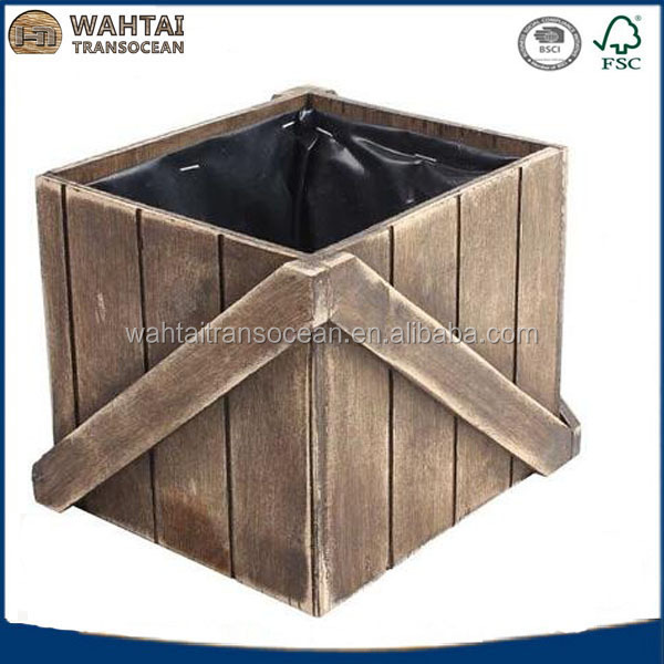 Vintage rustic wooden slat box for plant/flower crate/Crate flower box
