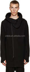Long sleeve hoodie Structural wire at hood perimeter Asymmetrical zip closure Welt side pockets Rib knit cuffs and hem