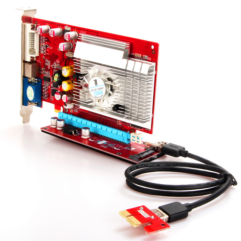 convertcard PCI-E to pcie adapter 007s sata red 4 pin PCIE riser card 1X to 16X New Socket USB 3.0 Extension Cable 45CM Bitcoin
