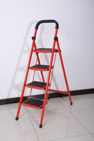 Household folding steel 4 step ladder with handrail