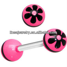 Beautiful pink acrylic logo tonge piercing with high quality plastic tongue rings jewelry