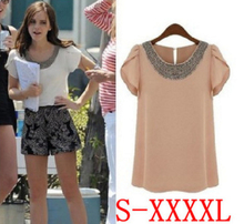 Fashion Women Summer Short-sleeve Beading Top Chiffon Shirts Female Elegant Casual Clothing