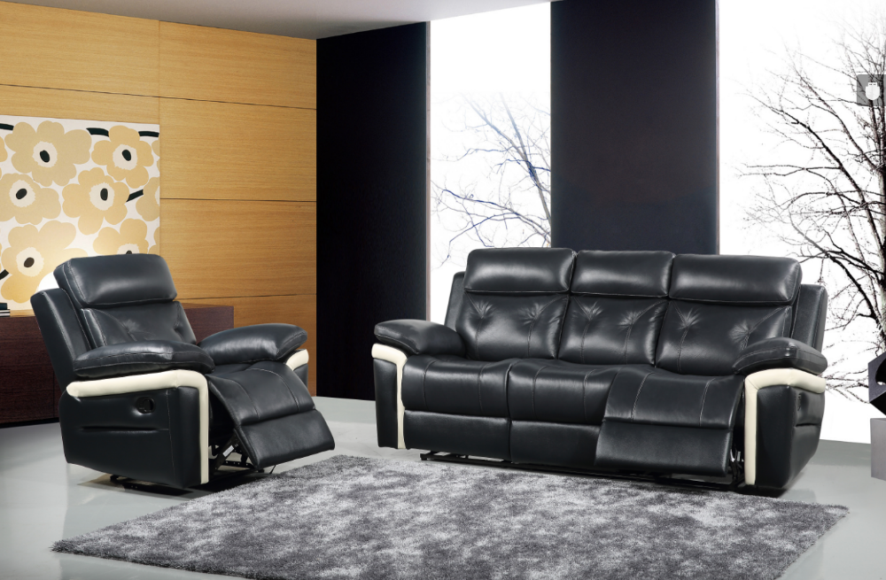 Exceptional Design half leather Sofa Set With Recliners, black matching white