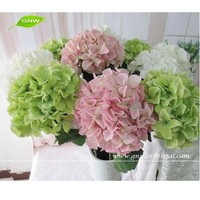 GNW FLH15 Wholesale Silk Hydrangea and Rose PU Artificial Flower Heads for Wedding Stage Backdrop Decoration