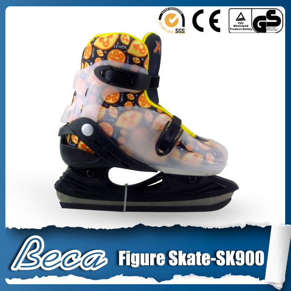2014 latest adjustable hardboot ice hockey skates flashing shoes for adults