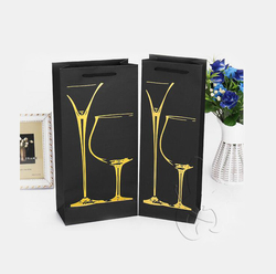 1 or 2 wine bottles paper tote bag with Golden hot stamping logo