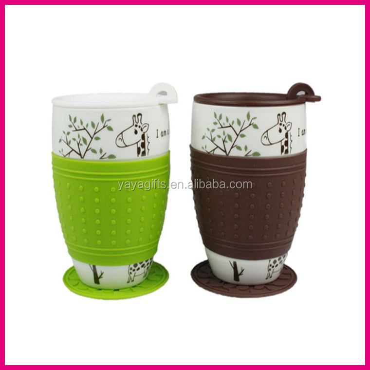 Eco-friendly reusable custom <strong>silicone</strong> bottle sleeve manufacturer cup case <strong>silicone</strong> coffee Cup set