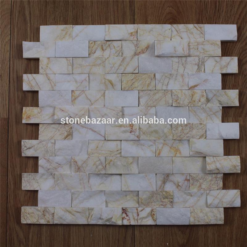 split face yellow golden spider mosaic tile