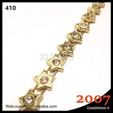top quality five-pointed star shape rhinestone cup chain trimming